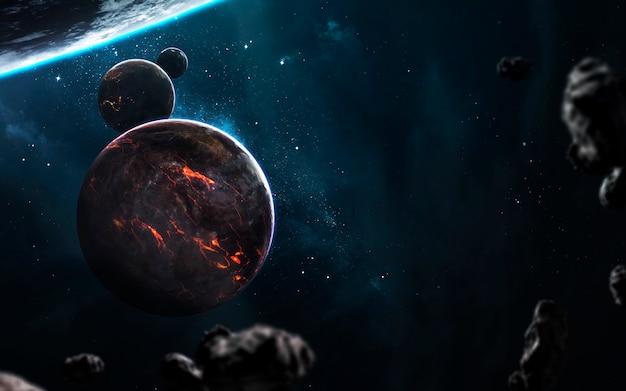 Расплавленная планета, красивые фантастические обои с бесконечным глубоким космосом. элементы этого изображения, предоставленные наса