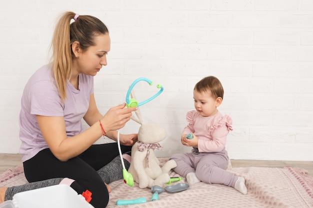 엄마와 아이 재생 라이프 스타일 컨셉 케어 및 건강 가정