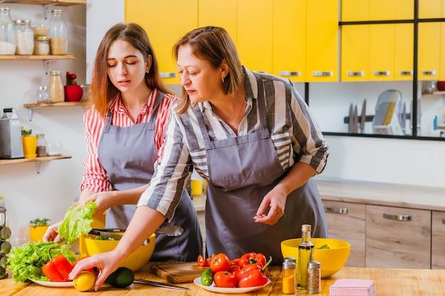 一緒にキッチンで働くママと娘