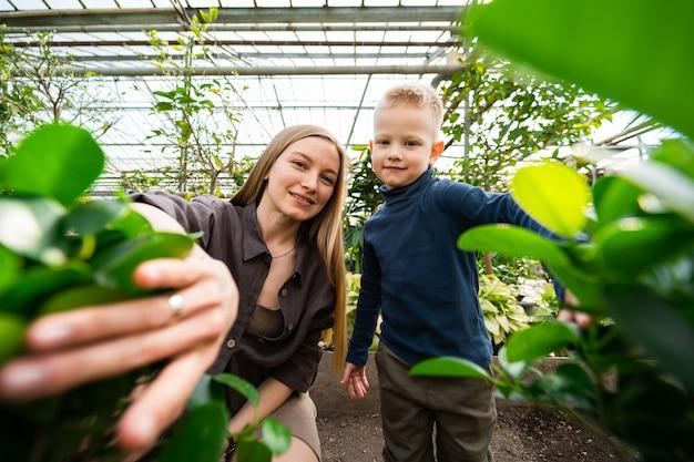 엄마와 아들은 온실에 있는 식물의 잎 뒤에서 밖을 내다본다