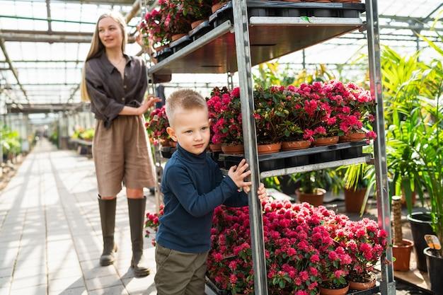 엄마와 아들은 온실에서 꽃과 함께 카트를 밀다