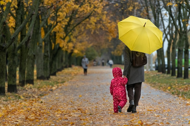 Mom and baby are walking under umbrella along alley of autumn park. back view