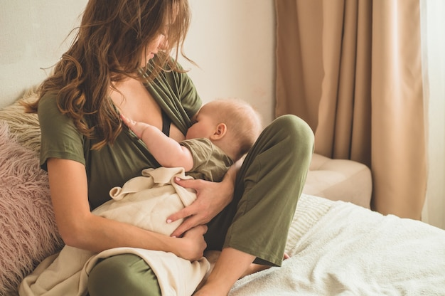 Mom and breastfeeding her baby