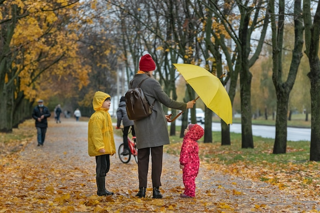 Mom and children are walking in the autumn park. yellow fallen leaves. back view