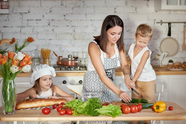 Mom cooks lunch with the kids. a woman teaches her daughter to cook from her son. vegetarianism and healthy natural food