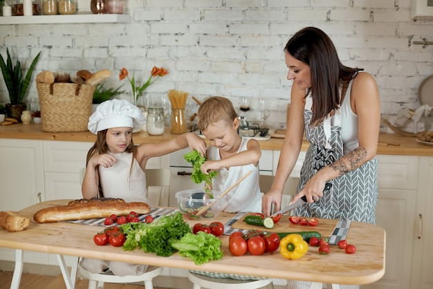 엄마는 아이들과 함께 점심을 요리합니다. 여자는 딸에게 아들에게 요리하는 법을 가르칩니다. 채식주의와 건강한 자연 식품