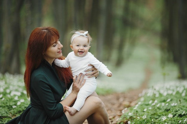 Mom and daughter happy spend time together