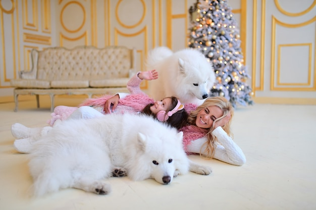 Mom and daughter play with samoyed dogs before a christmas tree