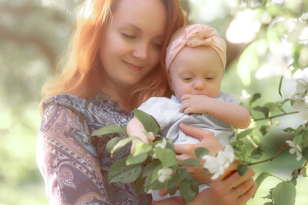 Mom is always close up. mother and daughter in nature. high quality photo