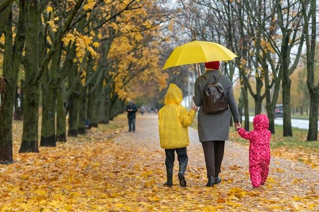 Мама с сыном и дочерью гуляет по переулку с зонтиком. падающие листья. семейная прогулка с детьми. вид сзади.