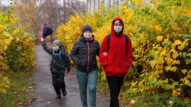 The mom with two sons in the street wearing protective masks, walking
