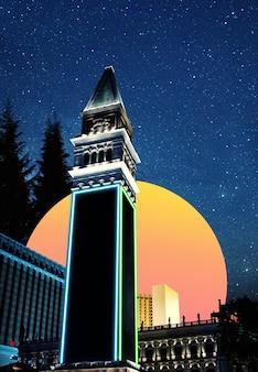 Момент. городской пейзаж в ярких тонах. модный фон с неоновой подсветкой, обои с copyspace для рекламы. современный дизайн. коллаж современного искусства. концепция вдохновения, настроения, творчества. стиль ретроволны.