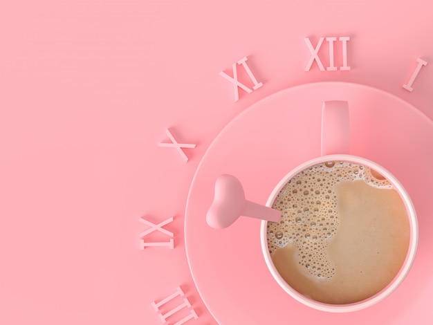 The moment of love idea concept. milk coffee pink cup on pink pastel background with copy space for your text, 3d render.