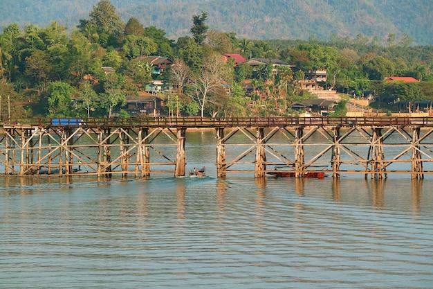 Mon bridge or saphan mon, the iconic landmark of sangkhlaburi district, kanchanaburi province, western thailand