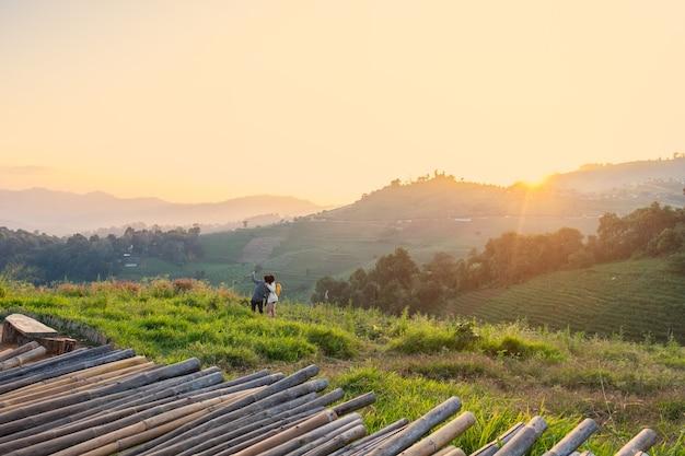モンチャム、モンジャム、チェンマイで美しい風景サンセットトワイライト