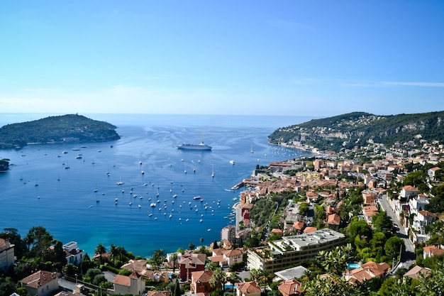 Monaco bay view with wonderful yachts and residential buildings in monte carlo, monaco