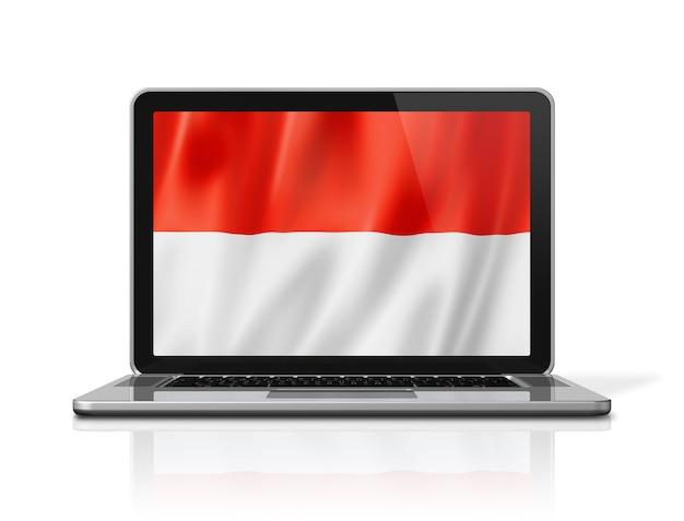 白で隔離のノートパソコンの画面上のモナコの旗。 3dイラストのレンダリング。