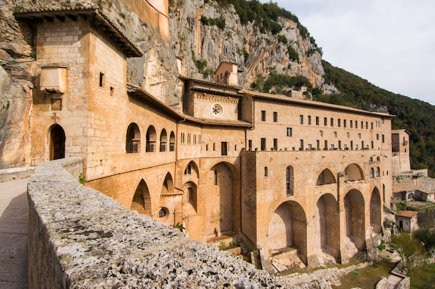 Monastery of sacred cave of saint benedict in subiaco, province of rome, lazio, italy.