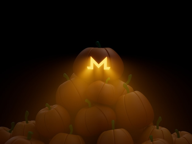 Monero 동전 새겨진 호박 스택 더미 암호화 통화 3d 그림 렌더링 어두운 조명