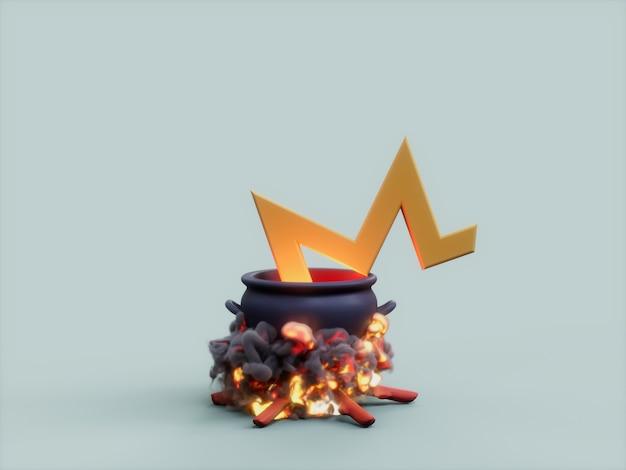 Monero 동전 가마솥 화재 요리사 암호화 통화 3d 그림 렌더링