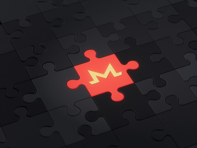 Monero coin different unique jigsaw puzzle piece crypto currency 3d illustration concept render
