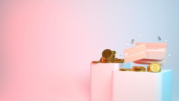 Деньги и кредитная карта на розовом и синем
