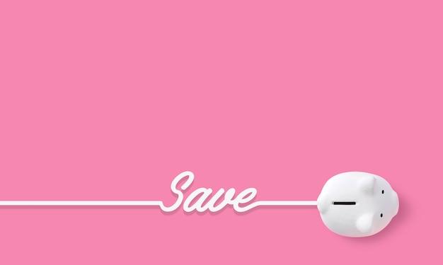 貯金箱とピンクの背景にテキストを保存するお金と金融の概念