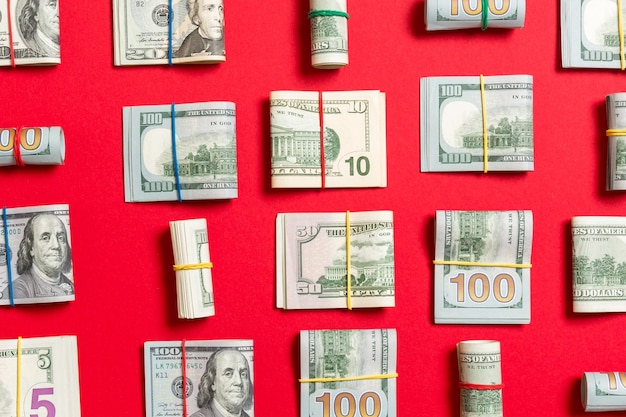 Money background with american hundred dollar bills on top wiev with copy space for your text in business concept.