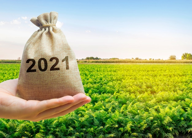 Денежный мешок 2021 года в руках фермера и сельскохозяйственных плантаций
