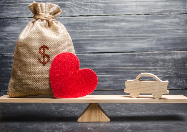 A money bag and a heart with a miniature wooden car on the scales. auto insurance.