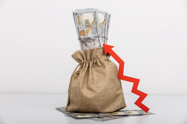 Money bag and red arrow up influx of investment and capital increase of wealth