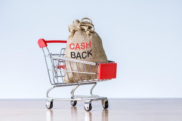 복사 공간이 있는 밝은 회색 backgroun에 있는 쇼핑 카트에 현금이 든 돈 가방. 환불 돈 개념입니다.