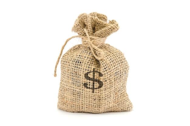 흰색 표면에 고립 된 문자열로 묶여 달러 기호로 돈 가방