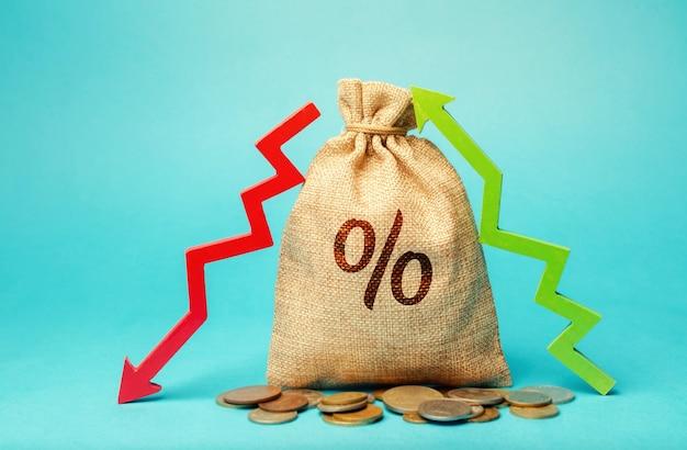 パーセントと上向きまたは下向き矢印の付いたお金の袋。