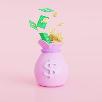 Иконка деньги мешки, концепция экономии денег. денежные мешки на розовом фоне. 3d иллюстрация