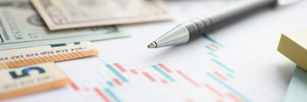 Money and ballpoint pen lying on documents with charts closeup