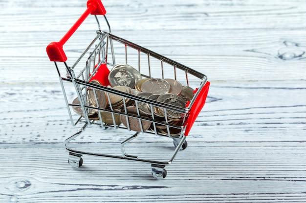 Money coin in mini shopping cart