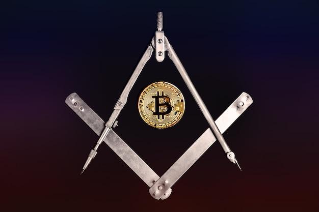 Деньги в криптовалюте. монета биткойн на черном фоне. криптовалюта биткойн.
