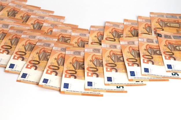 お金ユーロ現金紙幣50ユーロノートフレーム構成。