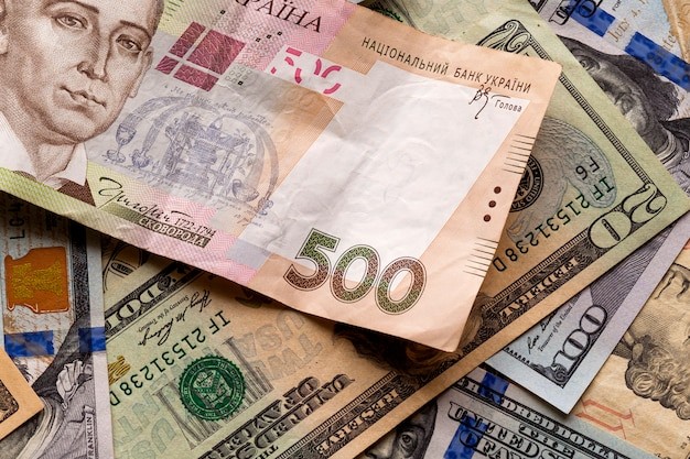 Money and finances . ukrainian national currency bill wor