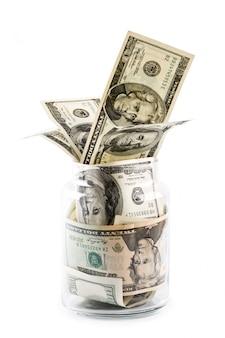 Money in glass jar