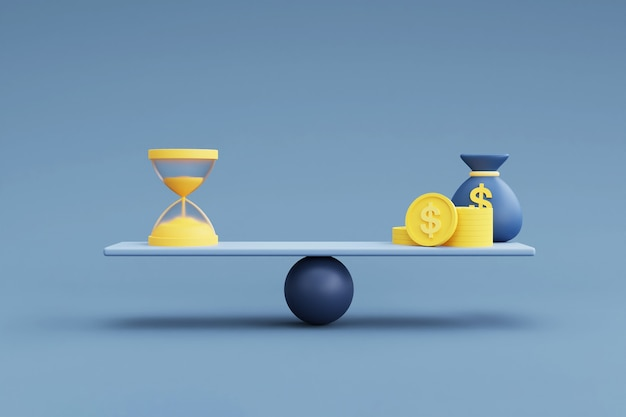 Money and hourglass on a balance scale