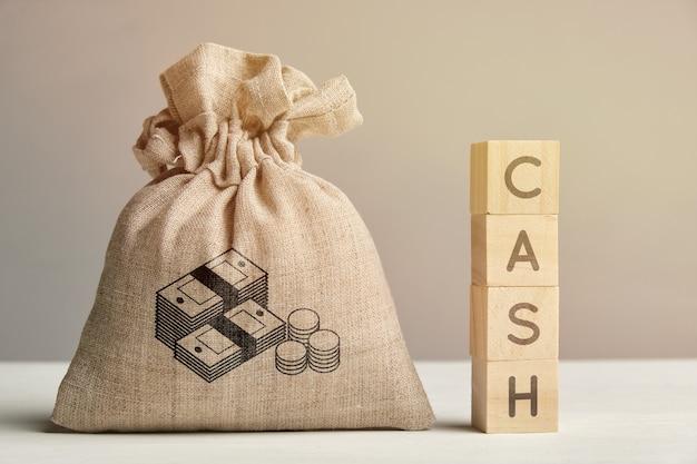 Значок денег на концепции мешок с надписью наличных денег.