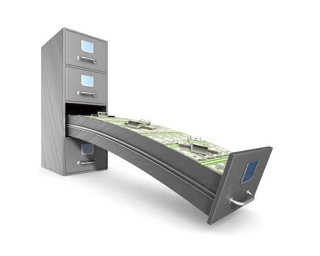 Money into filing cabinet on white.