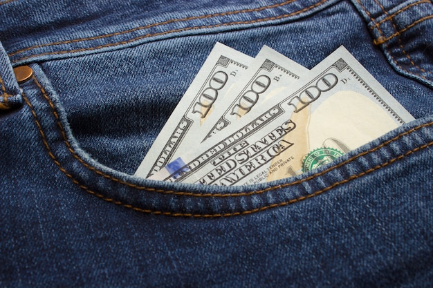 Money in the jeans pocket.