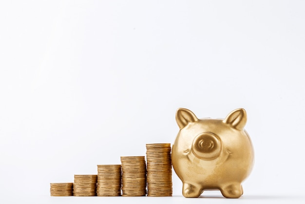 Money ladder leading to a pig piggy bank on a white surface