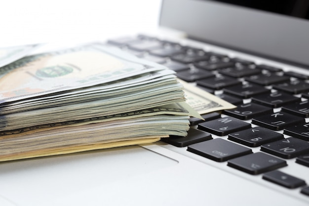 Money on laptop