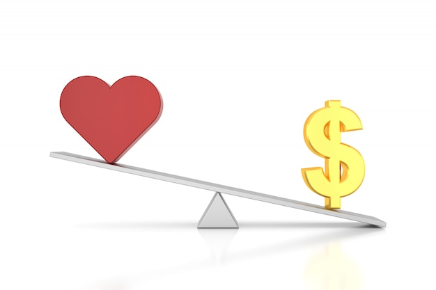 Money and love in a balance on white