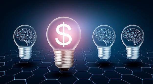 Символ доллара идеи зарабатывания денег лампочка с мозгом внутри думает о зарабатывании денег