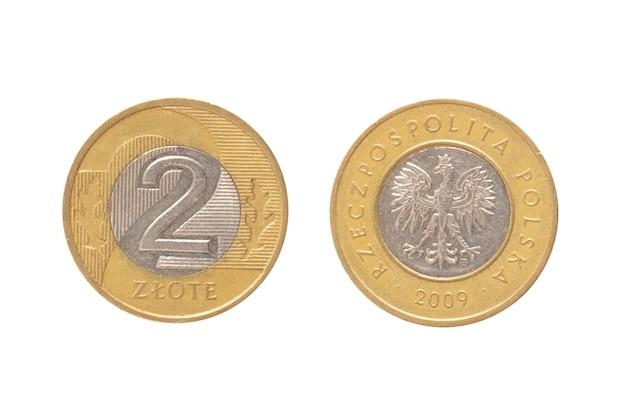 Деньги польской республики. монета 2 злотых на белой изолированной поверхности.